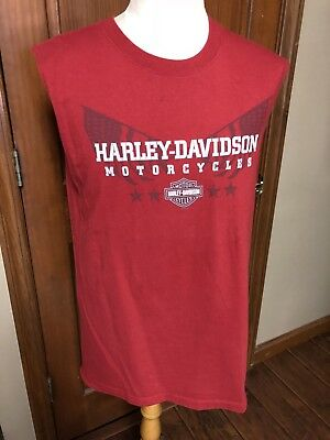 Men's Harley Davidson T-shirt Large Red Sleeveless New York City NWOT L94