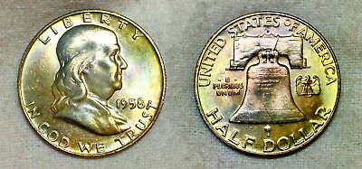 1958 D Franklin.90  Silver Half Dollar. GEM BU and Album Toned