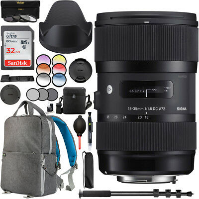 Sigma 18-35mm f1.8 DC HSM Art Lens for Sony Alpha A Mount Camera Backpack Bundle