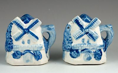 Vintage Handled Blue Windmill Salt & Pepper Shakers Set Made in Japan