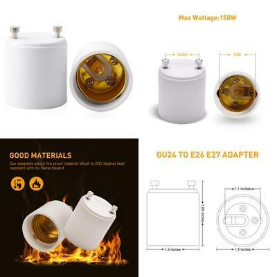 Jackyled Gu24 To E26 E27 Adapter 2-Pack Heat Resistant Up To 200℃ Fire Resista