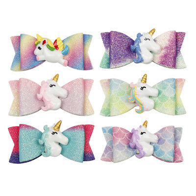 "2.5"" Resin Unicorn Synthetic Leather Hair Bow Hair Clips Girls Hair Accessories"