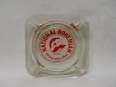 National Bohemian Beer Mr. Boh Character Glass Advertising Ashtray