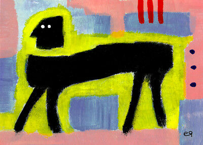 a stroll in the park e9Art ACEO Outsider Folk Art Brut Painting Naive Abstract