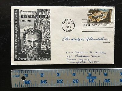 """1969 First Day Of Issue Hand Signed Rudolph Wendelin W/coa """"smokey Bear"""" Creator"""