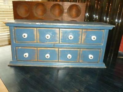 Vintage Rustic Primitive Blue Painted 2 Drawer Spice Cupboard Style Country Box