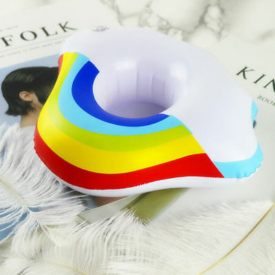 Inflatable Rainbow Pool Float Toys Drink Holder Cup Swimming Beach Water Bath