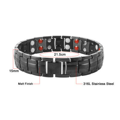 Men Magnetic Therapy Bio Energy Bracelet 4 in 1 Health Wristband Black HS1302