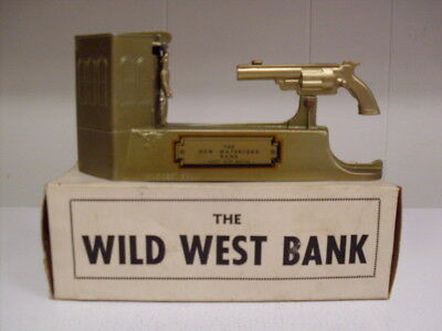 Rare MINT WILD WEST COIN BANK by Astro Mfg WBox-Key & Instructions & Information
