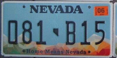 NEVADA  -  HOME MEANS NEVADA  Embossed  license plate  081 B 15