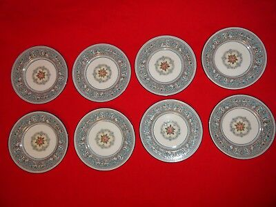 """Set 8 Vintage Wedgwood China Florentine Turquoise 6"""" Bread Butter Plates W2714"""