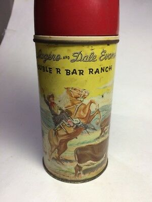 Vintage 1950's Roy Rogers Dale Evans Double R Bar Ranch Metal Lunchbox Thermos