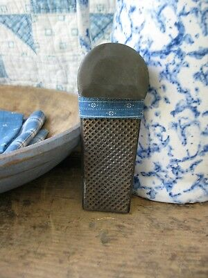 Early Antique Dark Tin Nutmeg Grater Wrapped in Antique Blue Calico