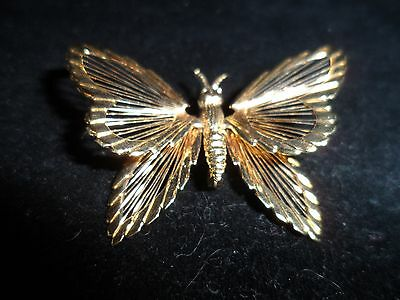Monet Signed Pin Brooch Spinerette Butterfly Wire Gold Tone Vintage Antique