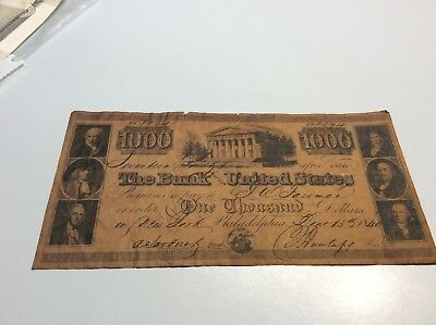 1840 Old The Bank United States Check for 1000 to JW Fairman