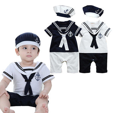 UK Newborn Baby Boys Sailor Costume Toddler Bodysuit Outfits Romper Clothes+Hat