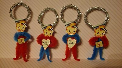 4 Vintage Style Valentine's Mailman Ornaments Party Favors Tags