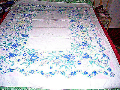 """vntg1950's tablecloth pink green blue flowers no stains holes 50""""x60 approx"""
