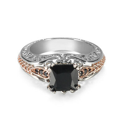 Fashion Women Rose Gold Filled Wedding Rings Black Sapphire Jewelry Size 6-11