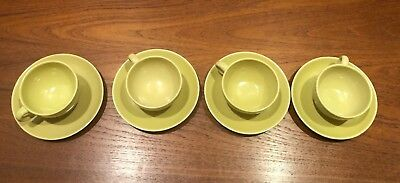 FOUR Russel Wright Iroquois Casual CHARTREUSE AVOCADO Coffee Cups & Saucers