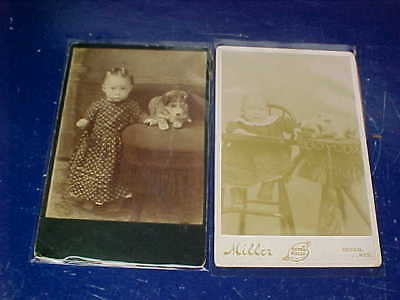 2-1890s VICTORIAN Era GIRLS With DOGS Studio CABINET CARD Photos