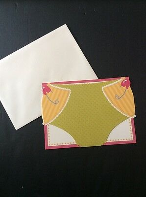 Blank Stationery Baby Girl Shower Birth Announcement Diaper Thank You 10 Cards