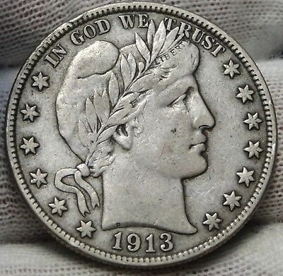 1913S Barber Half Dollar 50 Cents - Key Date, 604,000 Minted (5324)