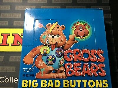 1985 Full Box Of Gross Bears Big Bad Buttons,36 Packs,1 Button Per Pack,topps!!!