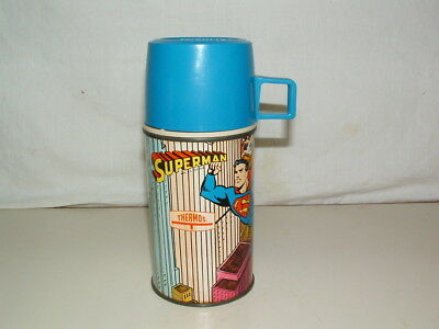 1967  THERMOS BRAND TIN-LITHO  ( SUPERMAN ) 8oz  GLASS LINED THERMOS BOTTLE