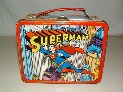 1967 Thermos Brand  Tin-Litho  ( Superman  ) Lunchbox