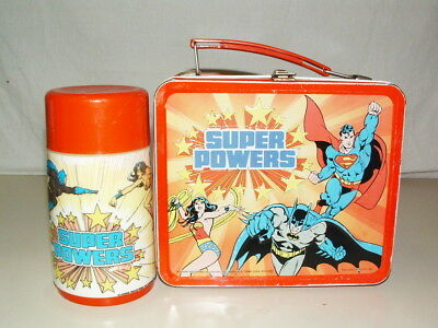 1983 ALADDIN TIN-LITHO EMBOSSED ( SUPER POWERS ) LUNCHBOX with THERMOS