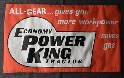 """Vintage ca 1973 Paper Advertising Sign - ECONOMY POWER KING TRACTORS - 34"""" x 59"""""""