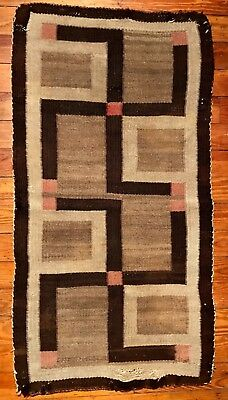 Historic Navajo Twin Whirling Log Double Saddle Blanket/Rug,Unique Square Design