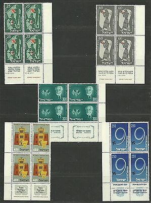 ISRAEL Fine-Very Fine MNH 5x Blocks of 4 Stamps With Tabs
