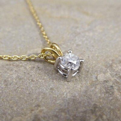 "1/2 Ct Solitaire Round Diamond Pendant 14K Yellow Gold Over w/ 18"" Chain"