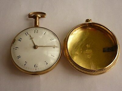 18ct Gold William Constable Dundee 1809 Pair Case Fusee / Verge 18k Pocket Watch