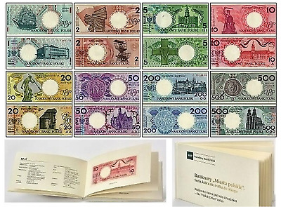 Poland 1990 Cities 9 Pcs Banknotes 1 2 5 10 20 50 100 200 500 zlotych Album UNC