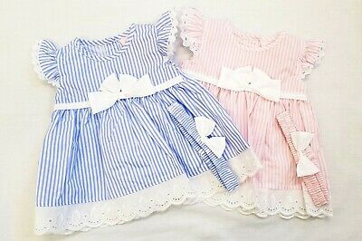 BNWT Baby Girls Pink / Blue Stripe Pinny Dress, Headband & Knickers 0-24 month