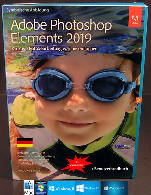 Adobe Photoshop Elements 2019 Vollversion Win/Mac +Benutzerhandbuch Download NEU
