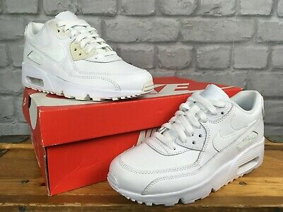 best service 1a4d2 91826 Nike Air Max 90 White Smooth Leather Trainers Boys Girls Childrens Youth  Ladies