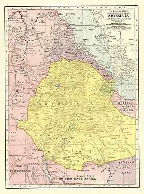 1912 Antique Map of ABYSSINIA Vintage Map of Ethiopia Africa Map 6253