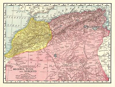 1912 Antique MOROCCO Map Vintage Map of Algeria Tunisia North Africa Map 6254