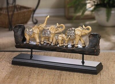 Carved Elephant Family Dressed in Dazzling Bejeweled Accents on Wooden Base