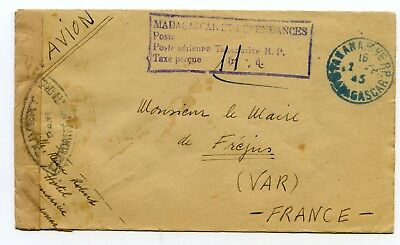 Madagascar stampless censor Tananarive to Fréjus France 1945