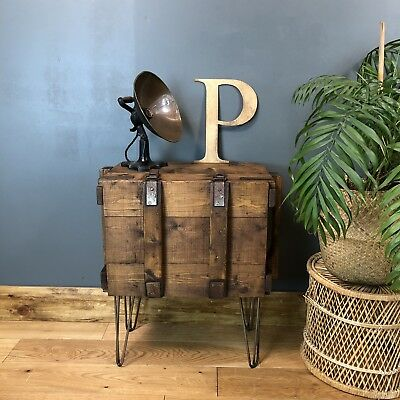 Vintage Pine Trunk Chest Rustic Industrial Table bedside cabinet Shabby Chic