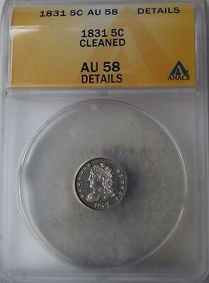 "1831 Capped Bust Half Dime ""ANACS AU58 Details"" Cleaned *Free S/H After 1st Item"