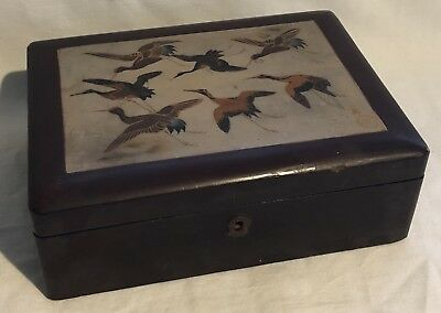 Antique Signed Lacquer Ware Wooden Box HERONS IN FLIGHT SCENE