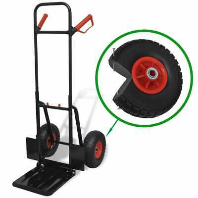 vidaXL Telescoping Metal Trolley Black and Red Transport Cart Dollies Truck