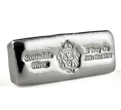 5 oz Scottsdale Silver CAST Bullion Bar .999+ Silver Bar #A398