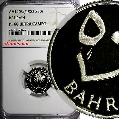 BAHRAIN Silver PROOF AH1403//1983 50 Fils NGC PF68 ULTRA CAMEO TOP GRADED KM# 5A